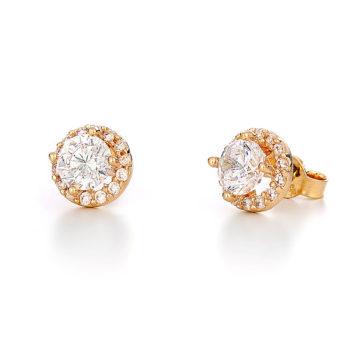 Σκουλαρίκια Μονόπετρο Χρυσά Με Στεφάνι Ζιργκόν 14K