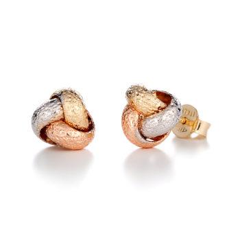 Σκουλαρίκια Κουβάρι Με Κίτρινο, Ροζ και Λευκός Χρυσάς