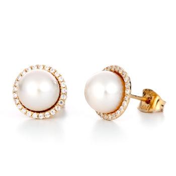 Σκουλαρίκια Χρυσά Με Μαργαριτάρι Και Στεφάνι Ζιργκόν 14K