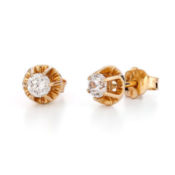 Σκουλαρίκια Μονόπετρα Χρυσά Με Ζιργκόν 14K