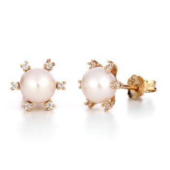 Σκουλαρίκια Χρυσά Με Μαργαριτάρι και Ζιργκόν 14K