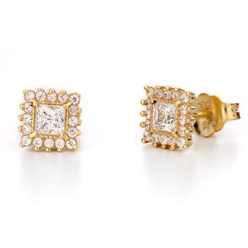 Σκουλαρίκια Κλασικά Χρυσά Με Ζιργκόν 14K