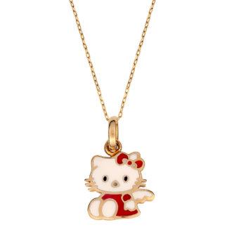 Παιδικό Κρεμαστό Hello Kitty Disney Χρυσός Και Σμάλτο Για Κορίτσι 14K