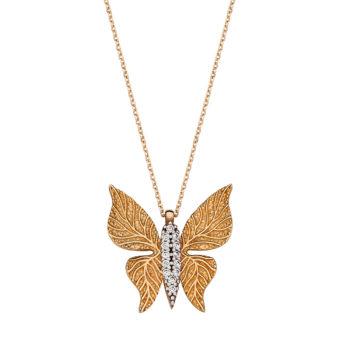 Κρεμαστό Πεταλούδα Χρυσός Με Ζιργκόν Ανάγλυφο 14K