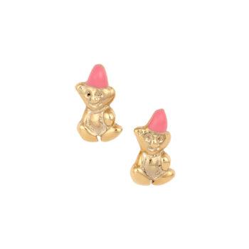 Σκουλαρίκι Αρκουδάκι Παιδικό Χρυσό Για Κορίτσι