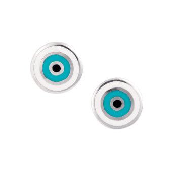 Σκουλαρίκια Μάτι Λευκόχρυσα 14K