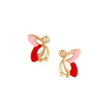 Σκουλαρίκι Πεταλούδα Παιδικό Χρυσό Με Ζιργκόν 14K