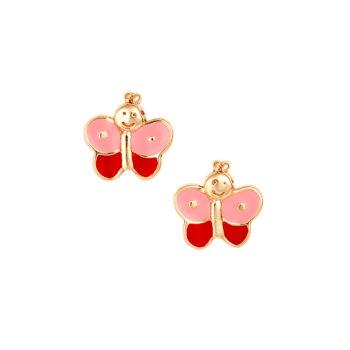 Σκουλαρίκι Πεταλούδα Παιδικό Χρυσό Για Κορίτσι 14K