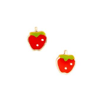 Σκουλαρίκι Φράουλα Παιδικό Χρυσό Για Κορίτσι 14K