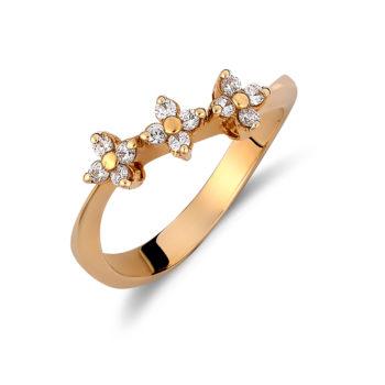 Δαχτυλίδι Λουλούδια Χρυσό Με Ζιργκόν 14K