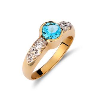 Δαχτυλίδι Χρυσό Με Ζιργκόν Και Μπλε Τοπάζι 14K