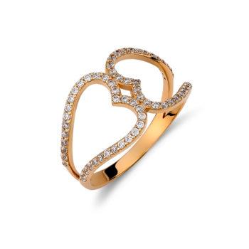 Δαχτυλίδι Καρδιά Χρυσό Με Πέτρες Ζιργκόν