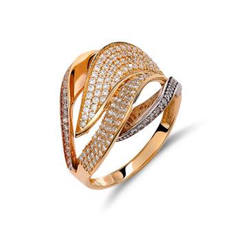 Δαχτυλίδι Κέλυφος Χρυσό Λευκόχρυσο Και Ροζ Χρυσός Με Ζιργκόν 14K