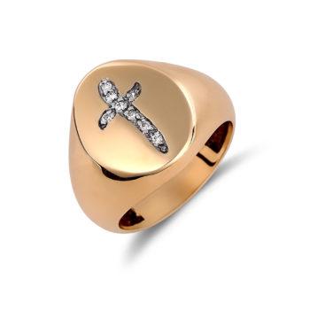 Δαχτυλίδι Σεβαλιέ Σταυρός Χρυσό Με Ζιργκόν 14K