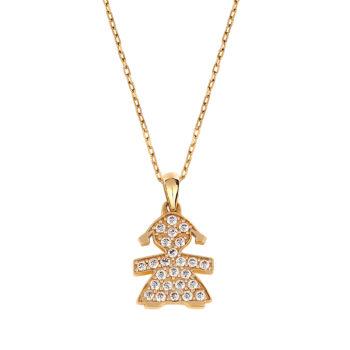 Κρεμαστό Κοριτσάκι Χρυσό Με Πέτρες Ζιργκόν 14K