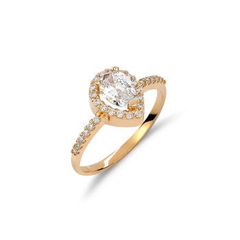 Δαχτυλίδι Δάκρυ Μονόπετρο Χρυσό Με Ζιργκόν 14K