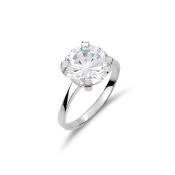 Δαχτυλίδι Μονόπετρο Λευκόχρυσο 14K