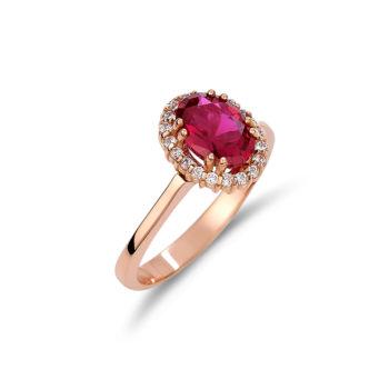 Δαχτυλίδι Ροζέτα Ροζ Χρυσός Με Ζιργκόν 14K