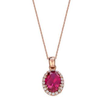 Κρεμαστό Ροζέτα Ροζ Χρυσός Με Ζιργκόν 14K