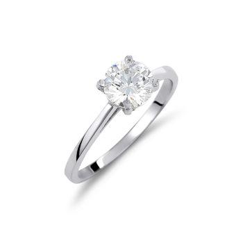Δαχτυλίδι Μονόπετρο Κλασικό Λευκόχρυσο Με Ζιργκόν 14K