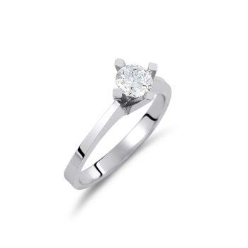 Μονόπετρο Δαχτυλίδι Λευκόχρυσο Με Ζιργκόν 14K