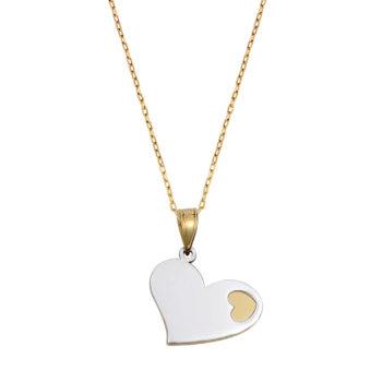 Κρεμαστό-Καρδιά Κίτρινος Και Λευκός Χρυσός 14K