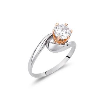 Μονόπετρο Δαχτυλίδι Λευκός Και Ροζ Χρυσός 14K Με Ζιργκόν