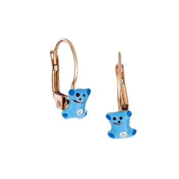 Σκουλαρίκι Παιδικό Χρυσό Με Ζιργκόν Αρκουδάκι Για Κορίτσι 14K