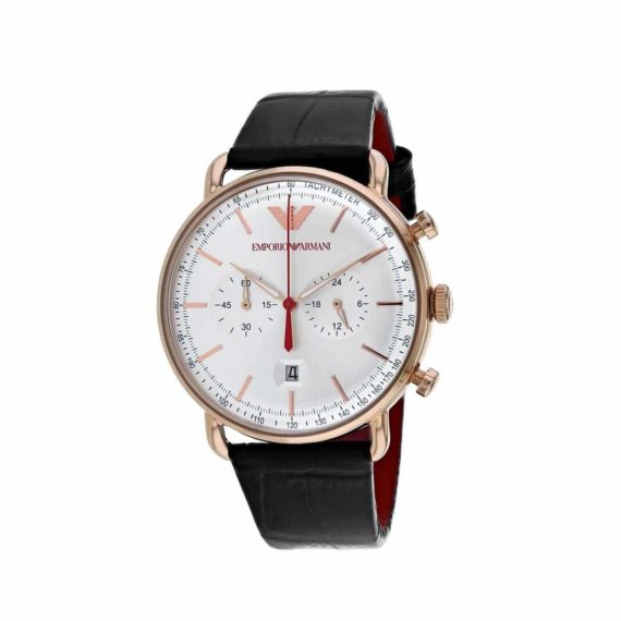 Emporio Armani Rose Gold Blue Leather Chronograph Men's Watch AR11123
