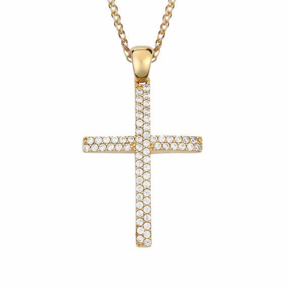 Λεπτός Σταυρός Χρυσός Με Ζιργκόν 002869