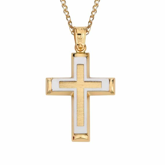 Σταυρός Ανάγλυφος Ζαγρέ Δίχρωμος Χρυσός 002859