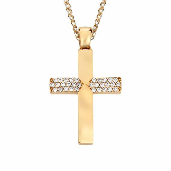 Σταυρός Χρυσός Με Ζιργκόν 002871