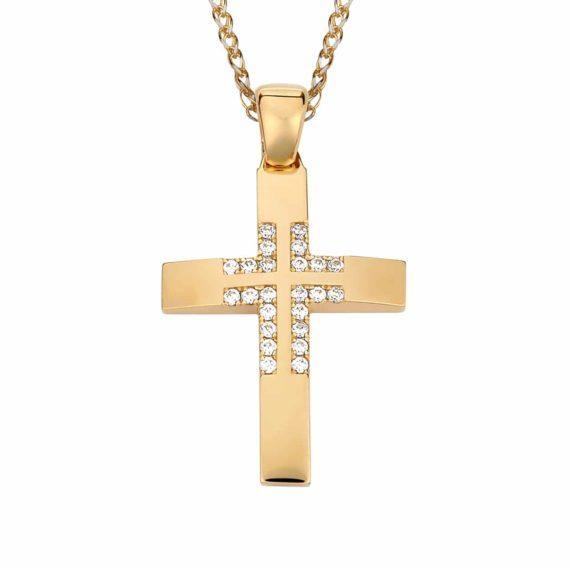 Σταυρός Χρυσός Με Ζιργκόν Στο Κέντρο 002870