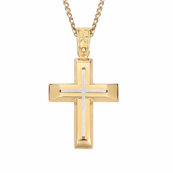 Σταυρός Δίχρωμος Χρυσός 002857