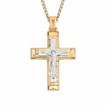 Σταυρός Ιησούς Χριστός Ανάγλυφος Δίχρωμος Χρυσός Διπλής Όψης 002862