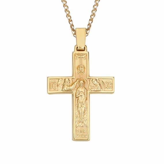 Σταυρός Ιησούς Χριστός Δίχρωμος Χρυσός Ανάγλυφος Διπλής Όψης 002860 2