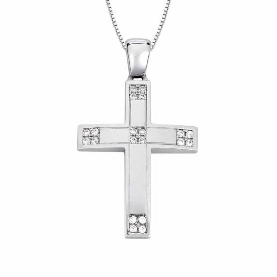 Σταυρός Λευκόχρυσος Γωνίες Με Ζιργκόν 002868