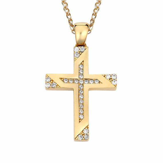 Σταυρός Μοντέρνος Χρυσός Με Ζιργκόν 002872