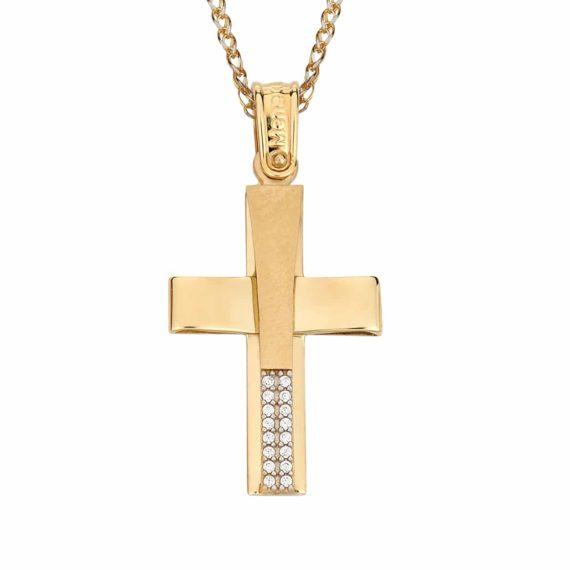 Σταυρός Μοντέρνος Χρυσός Με Ζιργκόν 002873