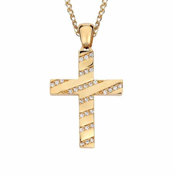 Σταυρός Ριγέ Χρυσός Με Ζιργκόν 002867
