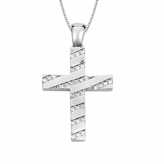 Σταυρός Ριγέ Λευκόχρυσος Με Ζιργκόν 002866