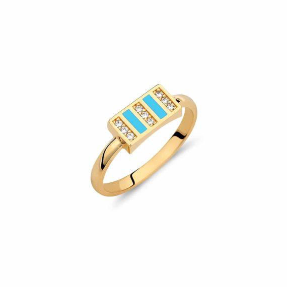 Δαχτυλίδι Χρυσό Με Σμάλτο Και Ζιργκόν 002884