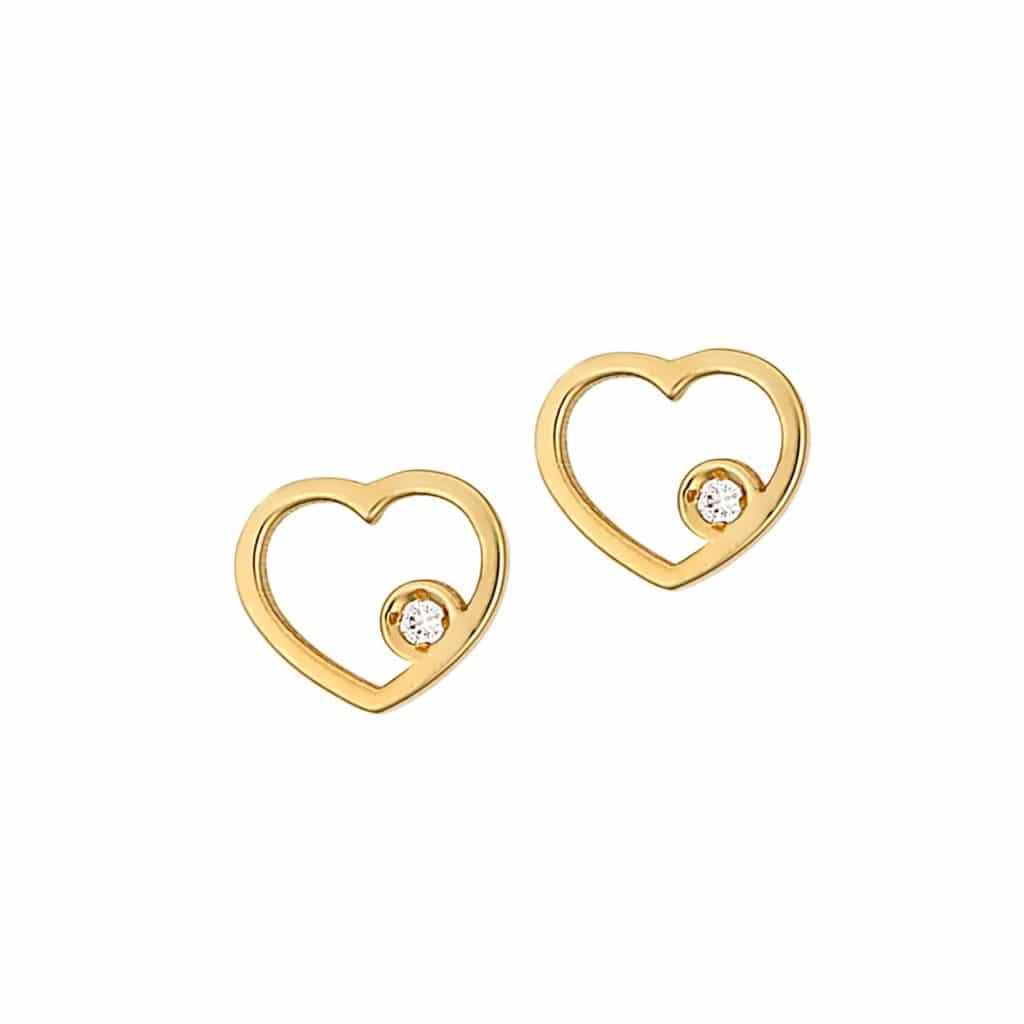Καρφωτά ΣΚουλαρίκια Καρδιές Χρυσά Με Ζιργκόν 002888