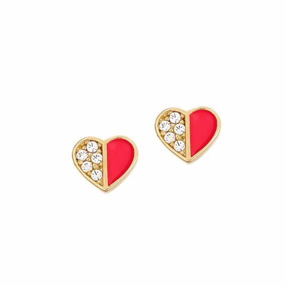 Καρφωτά Σκουλαρίκια Καρδιές Χρυσά Με Ζιργκόν Και Σμάλτο 002890