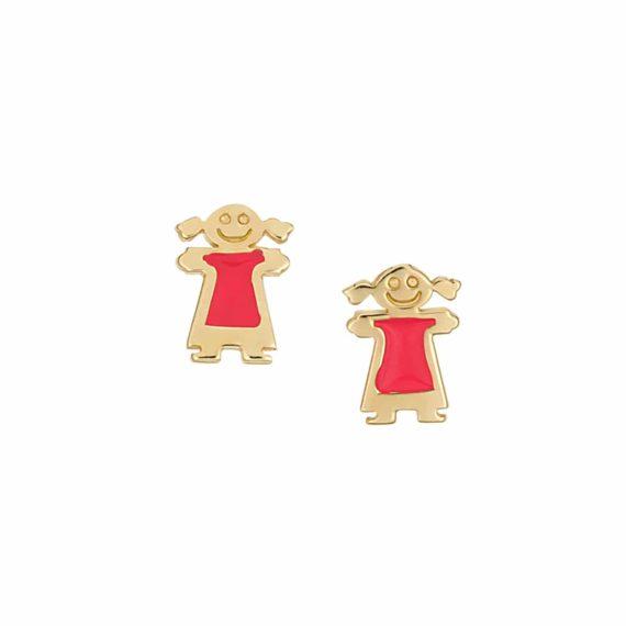 Καρφωτά Σκουλαρίκια Κοριτσάκια Χρυσά Με Σμάλτο 002891