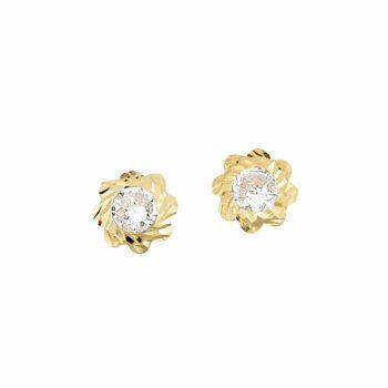 Καρφωτά Σκουλαρίκια Λουλούδια Χρυσά Με Ζιργκόν 002903