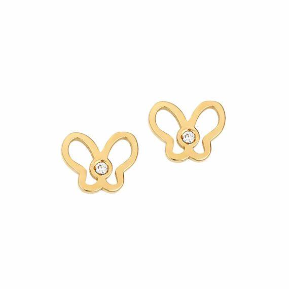 Καρφωτά Σκουλαρίκια Πεταλούδες Χρυσά Με Ζιργκόν 002889