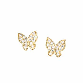 Καρφωτά Σκουλαρίκια Πεταλούδες Χρυσά Με Ζιργκόν 002905