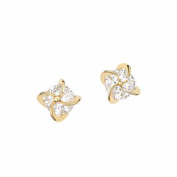 Καρφωτά Σκουλαρίκια Στρόβιλοι Χρυσά Με Ζιργκόν 002904