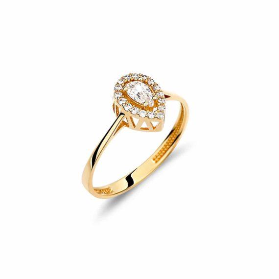 Κλασικό Μονόπετρο Χρυσό Με Ζιργκόν 002899